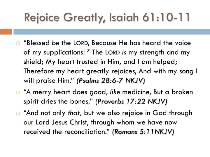 Rejoice Greatly, Isaiah 61:10-11