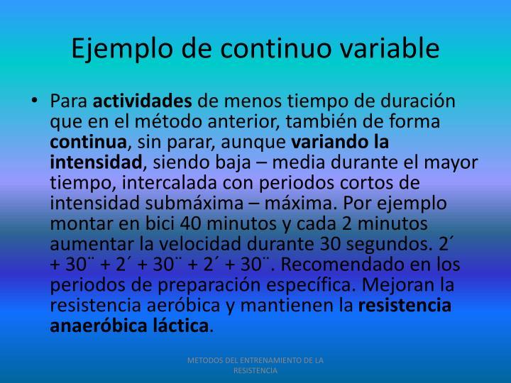 Ejemplo de continuo variable