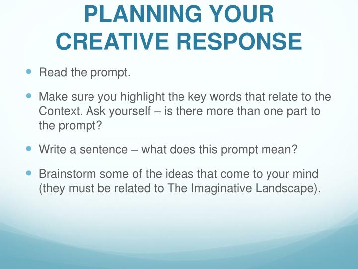 PLANNING YOUR CREATIVE RESPONSE