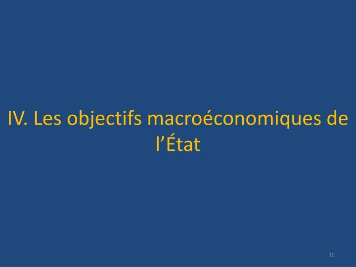 IV. Les objectifs macroéconomiques de l'État