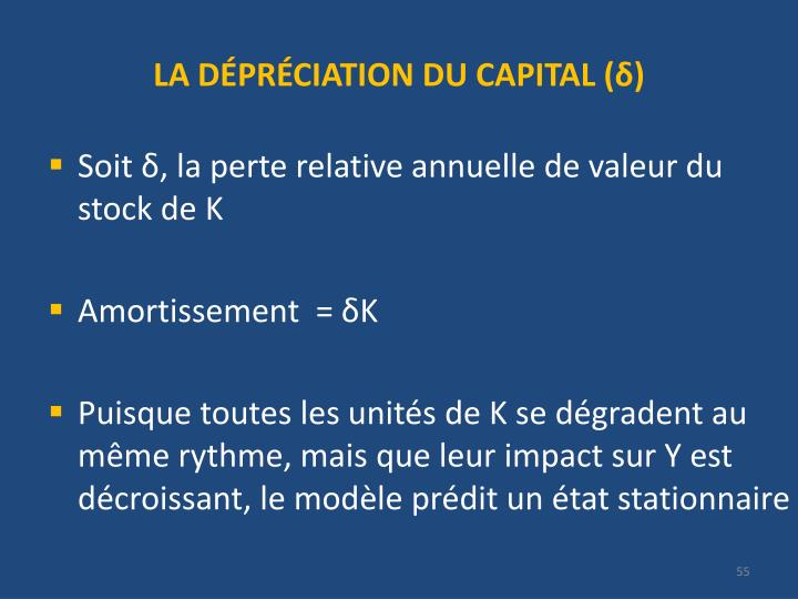 LA DÉPRÉCIATION DU CAPITAL