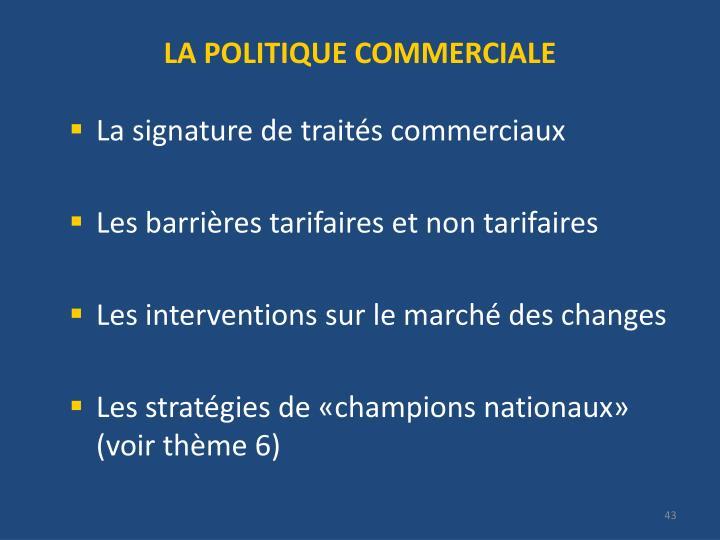 LA POLITIQUE COMMERCIALE