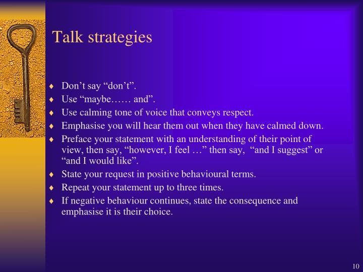 Talk strategies