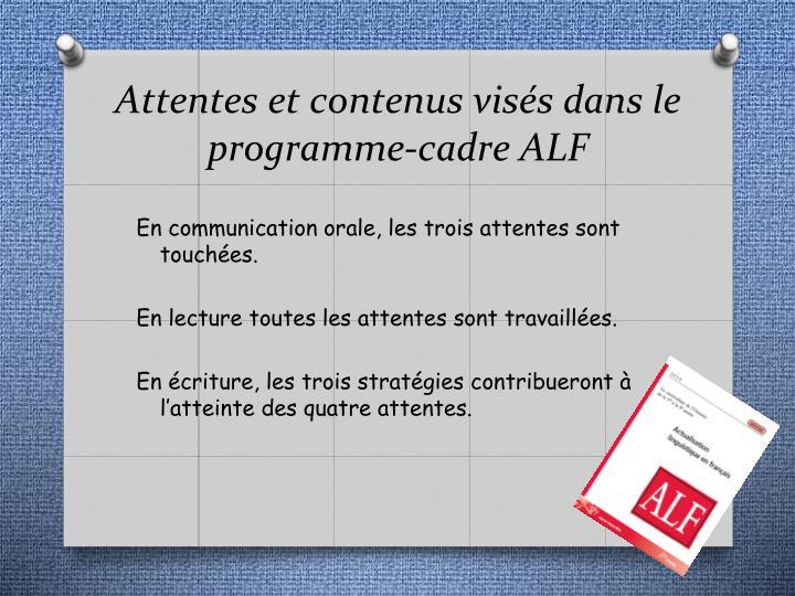 Attentes et contenus visés dans le programme-cadre ALF