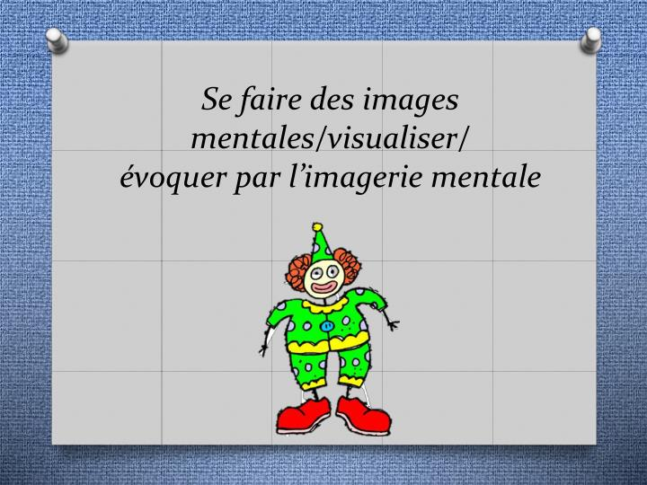 Se faire des images mentales/visualiser/