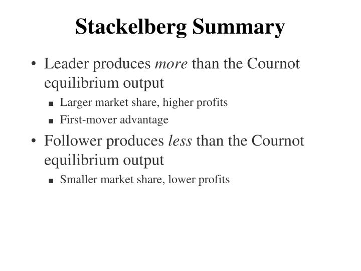 Stackelberg Summary