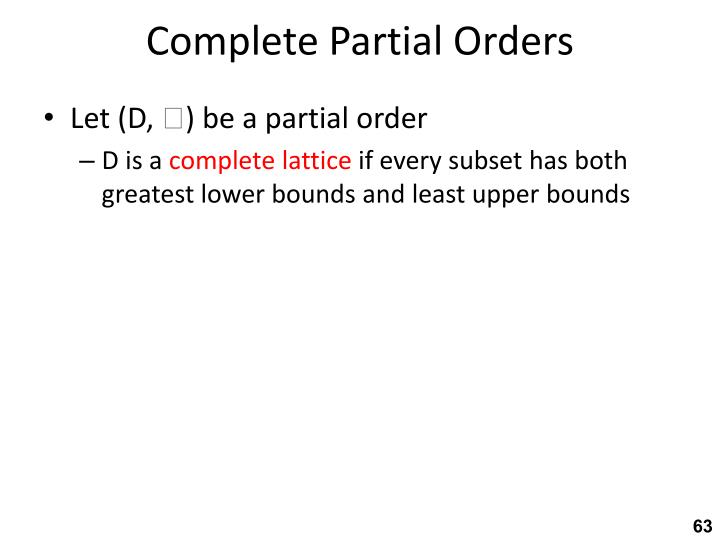 Complete Partial Orders