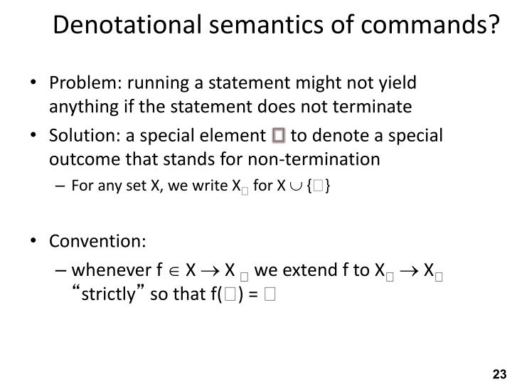 Denotational semantics of commands?