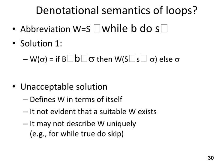 Denotational semantics of loops?