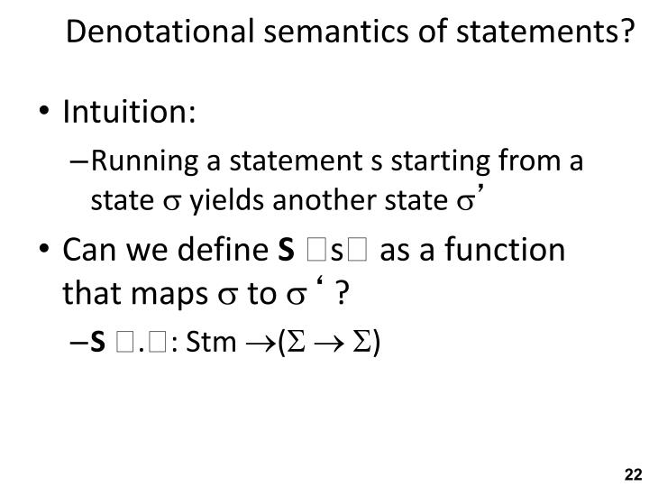 Denotational semantics of statements?