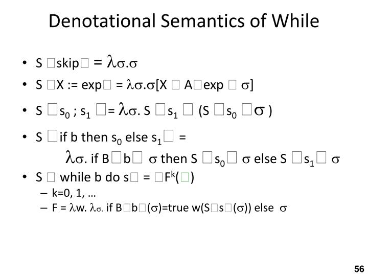 Denotational Semantics of While