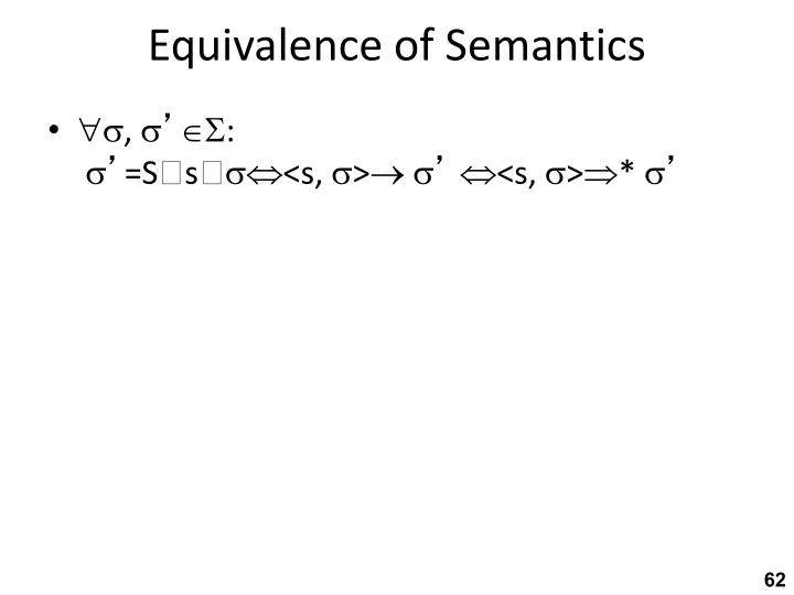 Equivalence of Semantics