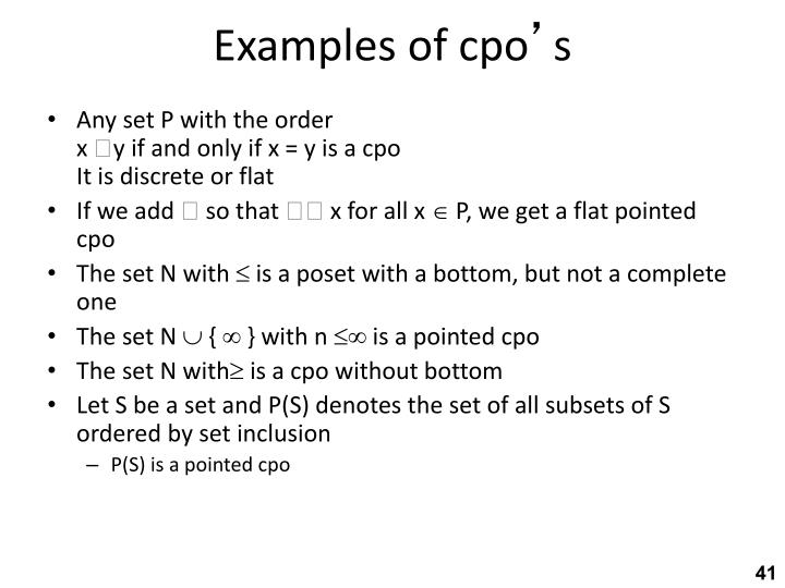 Examples of cpo