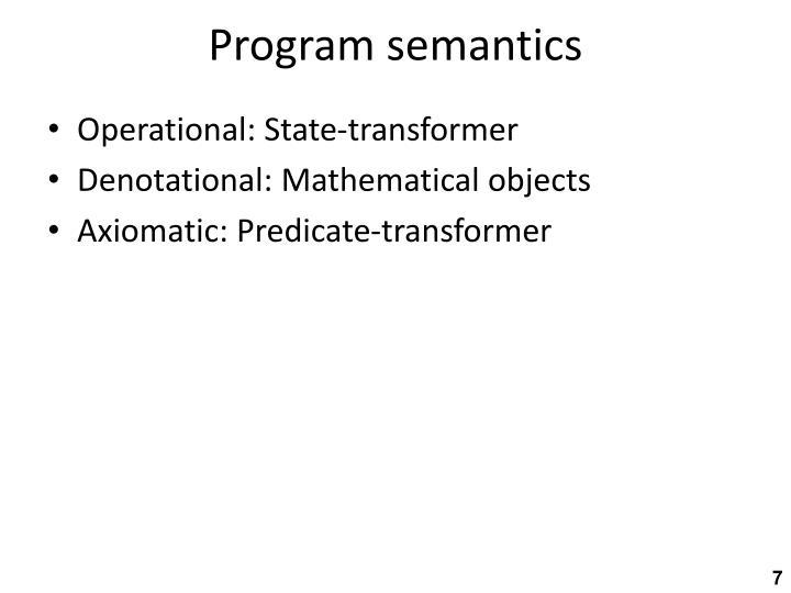 Program semantics