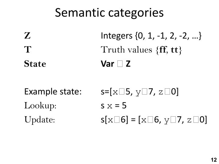Semantic categories