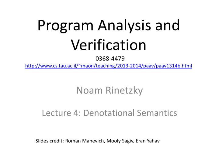 Program Analysis and Verification
