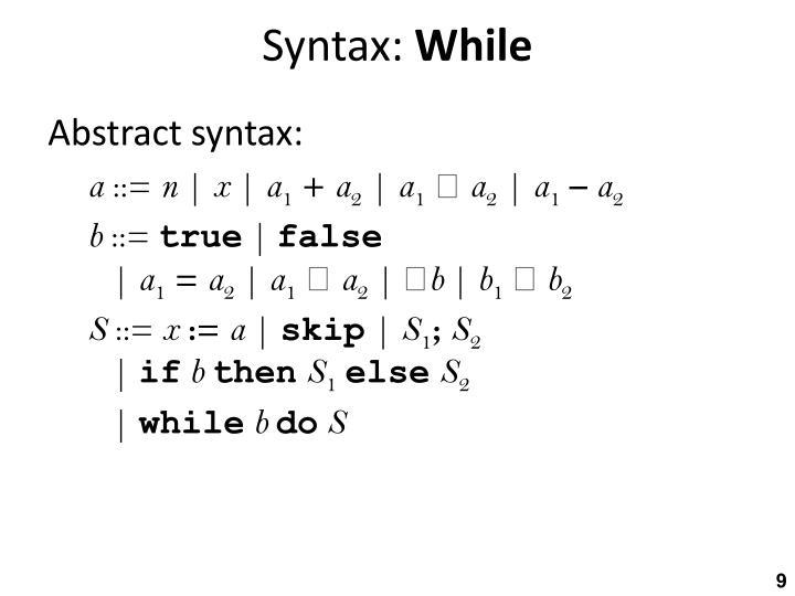 Syntax: