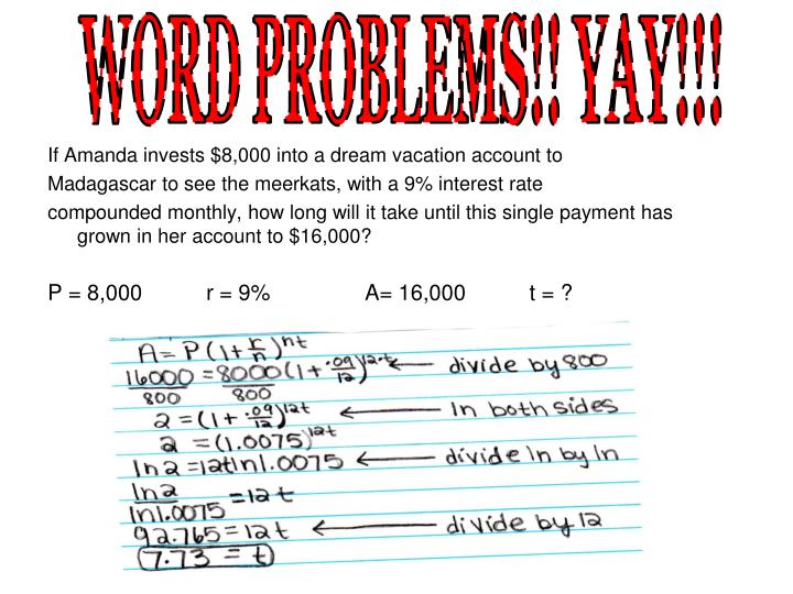 WORD PROBLEMS!! YAY!!!