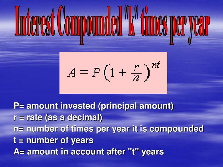 "Interest Compounded ""k"" times per year"