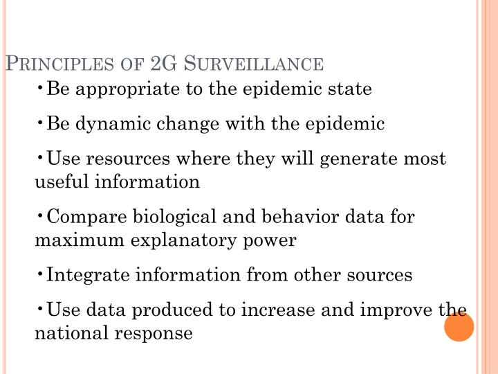 Principles of 2G Surveillance