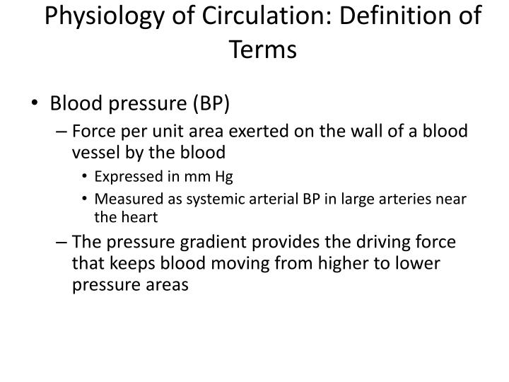 Physiology of Circulation: Definition of Terms