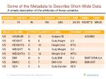 some of the metadata to describe short wide data