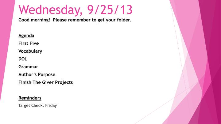 Wednesday, 9/25/13