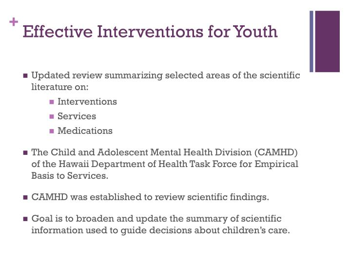 Effective interventions for youth