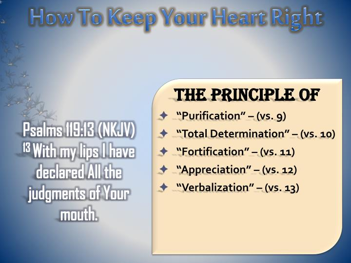 How To Keep Your Heart Right