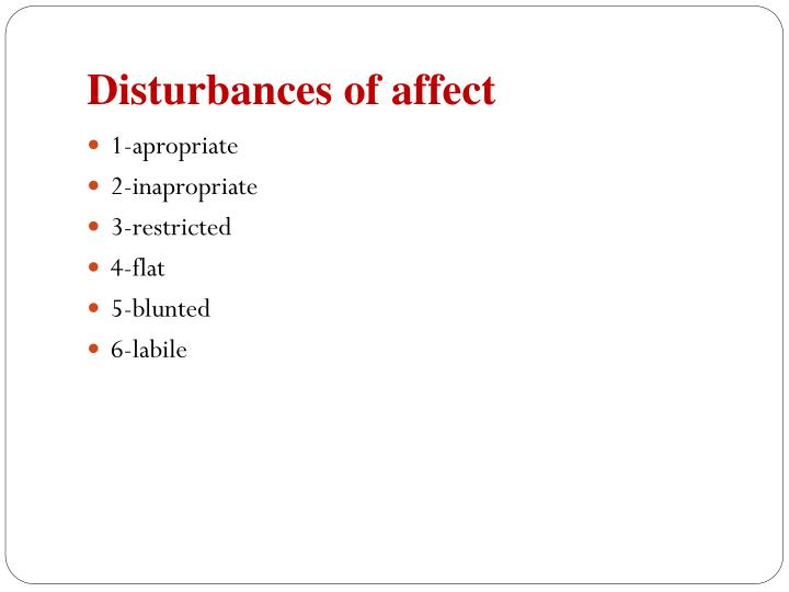 Disturbances of