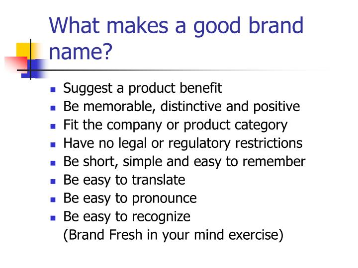 What makes a good brand name?