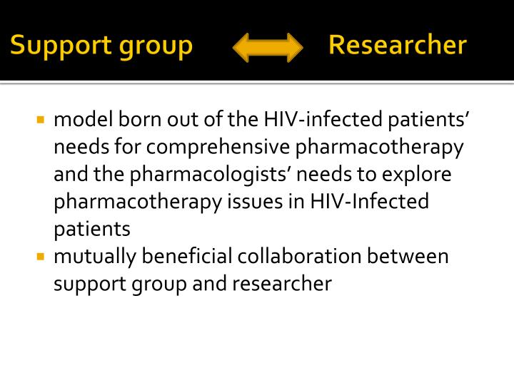 Support group                      Researcher