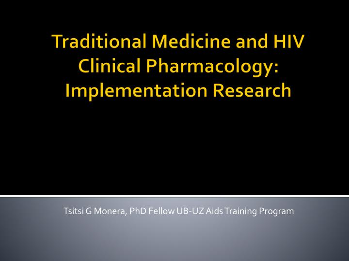 Tsitsi g monera phd fellow ub uz aids training program