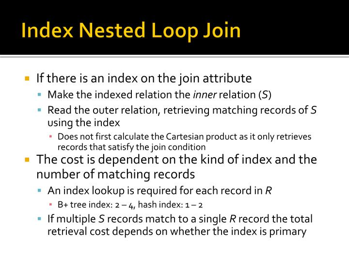 Index Nested Loop Join