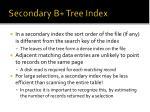 secondary b tree index