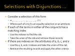 selections with disjunctions1