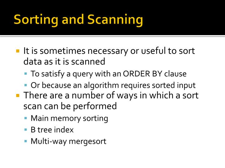 Sorting and Scanning