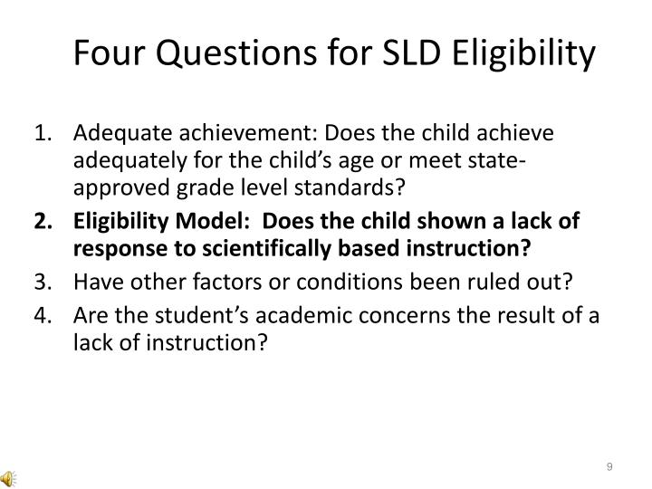 Four Questions for SLD Eligibility