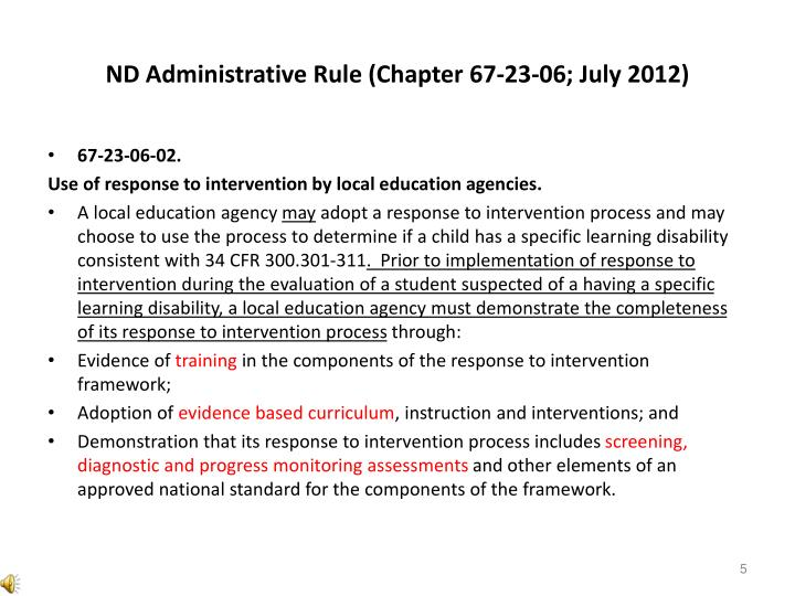 ND Administrative Rule (Chapter 67-23-06; July 2012)