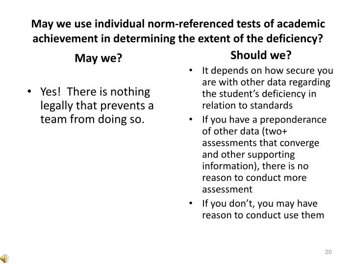 May we use individual norm-referenced tests of academic achievement in determining the extent of the deficiency?