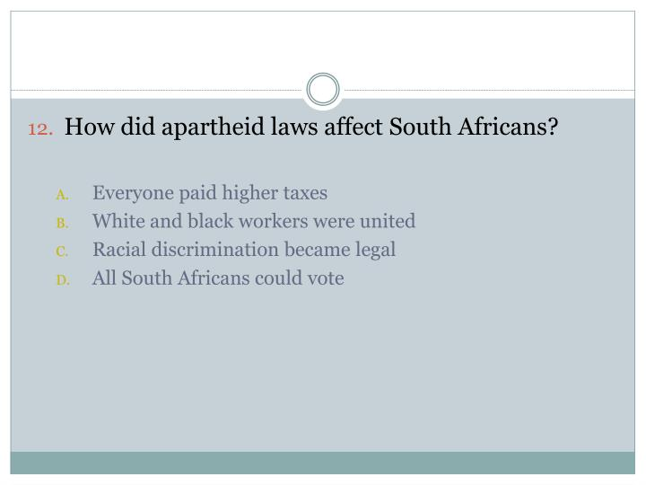 How did apartheid laws affect South Africans?