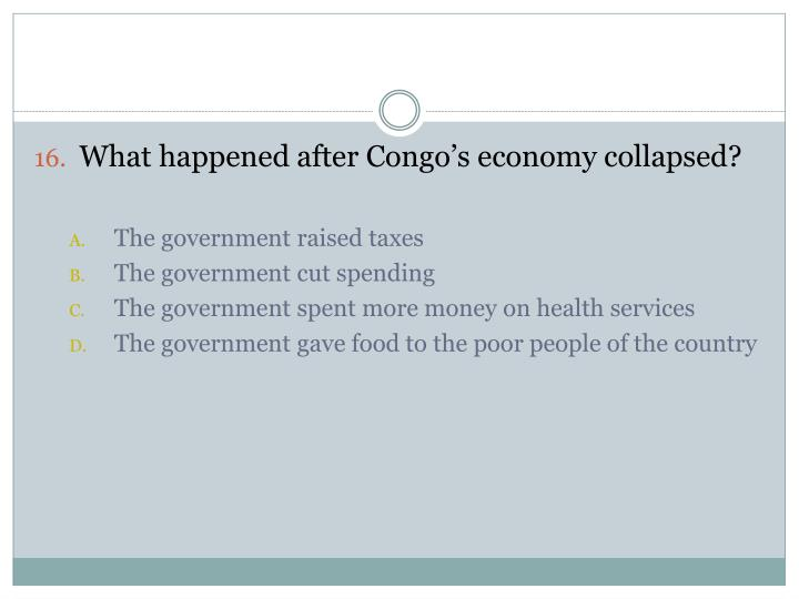 What happened after Congo's economy collapsed?