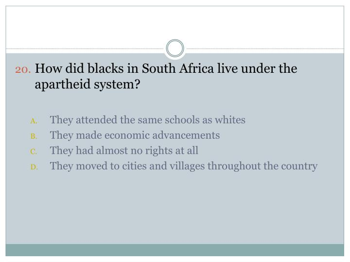 How did blacks in South Africa live under the apartheid system?