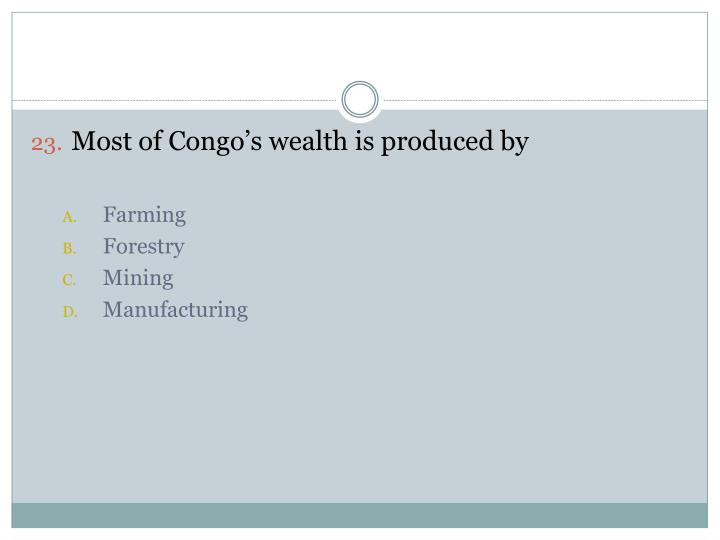 Most of Congo's wealth is produced by