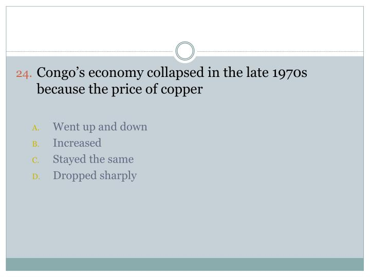 Congo's economy collapsed in the late 1970s because the price of copper