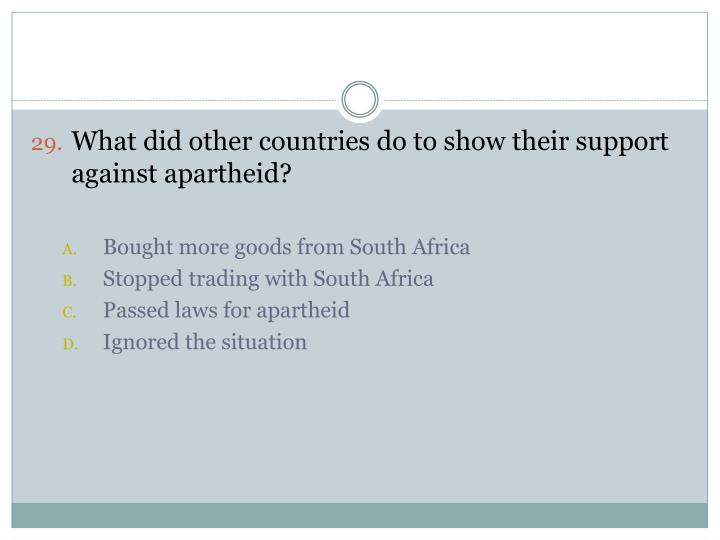 What did other countries do to show their support against apartheid?