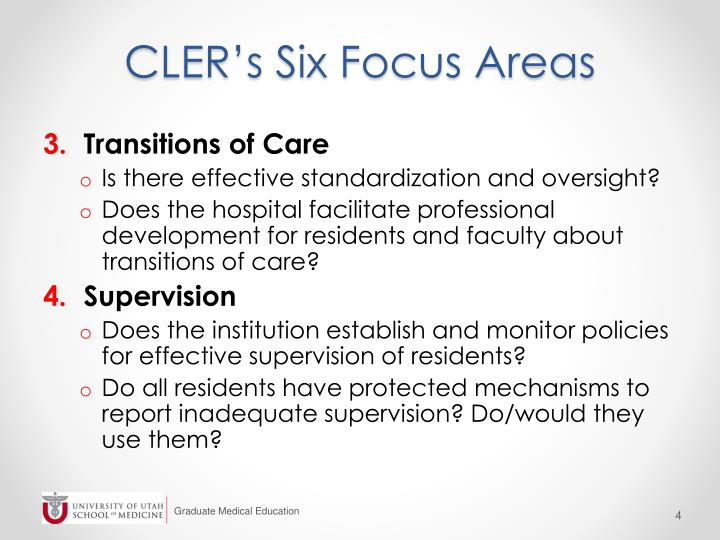 CLER's Six Focus Areas