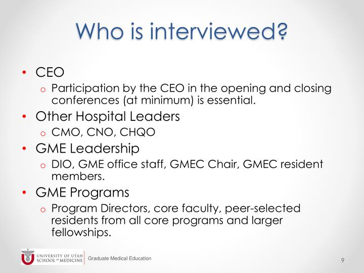 Who is interviewed?