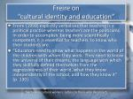 freire on cultural identity and education