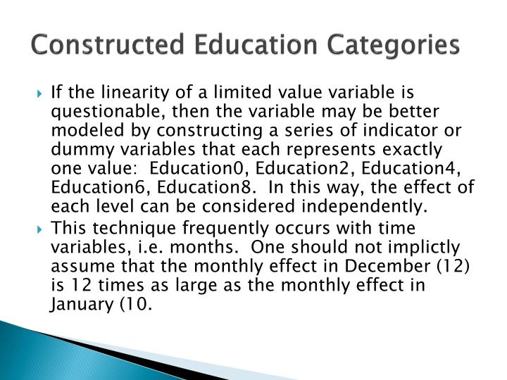 Constructed Education Categories
